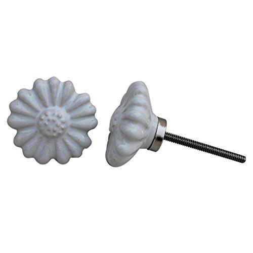 - Indianshelf Handmade 2 Piece Vintage Door Knobs Artistic Rust Free Ceramic White Daisy Flower Drawer Pulls