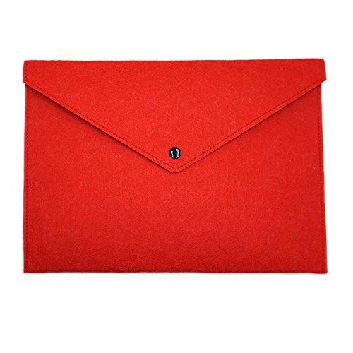 (ERCENTURY Felt File Folder, Durable Briefcase, Document Bag, Paper File Folders, Portfolio Case, Letter Envelope, Handbag Button Closure, for Office Home School Stationery (Red))