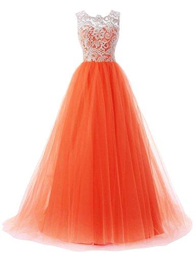 08d7e299039e JoyVany Tulle Prom Dresses 2018 Formal Evening Gowns Orange Size 8 ...