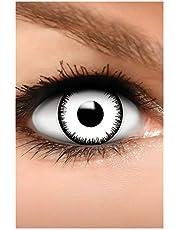 FUNZERA Gekleurde Halloween Contactlenzen, Zachte Motief lens voor chique Jurk Kostuum, 2 stuks, 1 paar, Eenmalig gebruik zonder Dioptrieën, 2 stuks 1 Paar - Verkleed je als VAMPIER - Wit