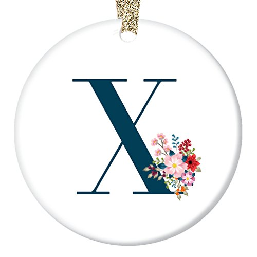 Last Name Ornament Monogram Letter X Christmas Present for Female Family Member Teacher Coworker Pretty Floral First Surname