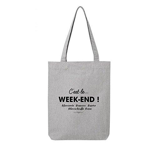 toile le week cest en Tote end bag gris recycle TxqYTEwP