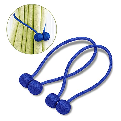 (BCELIFE Curtain Tiebacks Magnetic,Handmade Drape Tie Backs Drapery Rope Holdbacks/Holder for Home and Office Decoration,Set of 2(Royal Blue))