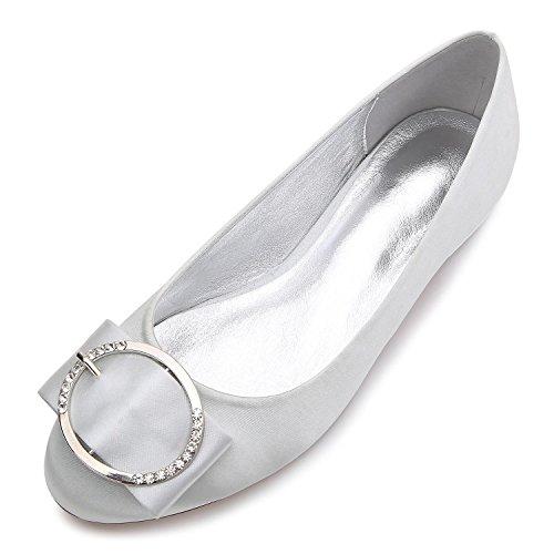 L@YC Women's Wedding Shoes Q-5049-31 Ball Close Toe Metal Stretch Satin Wedding Custom Made Large Size Shoes Silver QpP2KLyFvh