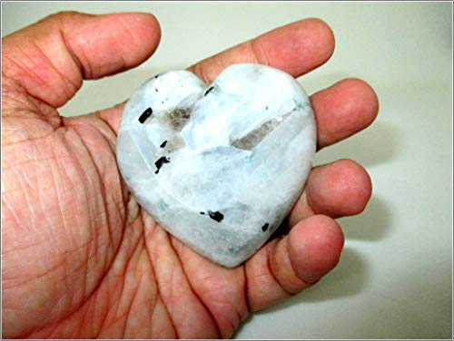 Jet Rainbow Moonstone Puffy Heart Stone Free Booklet Jet International Crystal Therapy Spirit Guide Stone White Crystal Therapy Healing Chakra Balancing Energy Love Divine Spiritual