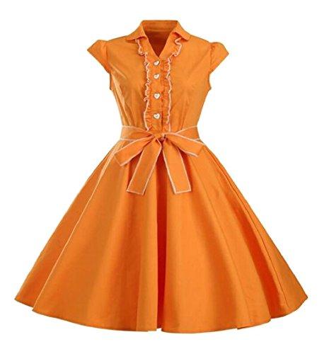 Delle Donne Rockabilly Su Maniche Vestito Hepburn Jaycargogo Arancione 1950 Dall'oscillazione Annata Pulsante C6qxSv
