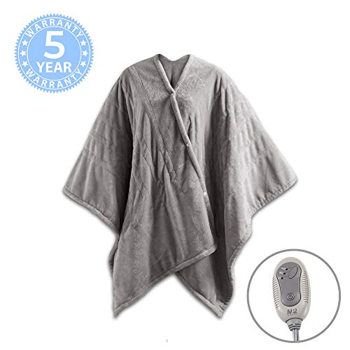 MP2 Electric Heated Poncho Shawl Wrap Sherpa Throw Blanket with