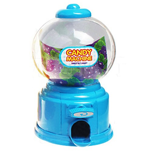 Kangkang@ Jelly Beans Sugar Snack Dispenser Coin Bank Storage Box Simulation Vending Machine Christmas Holiday Birthday Gift Toy (blue) (Kids Mini Gumball Machine)