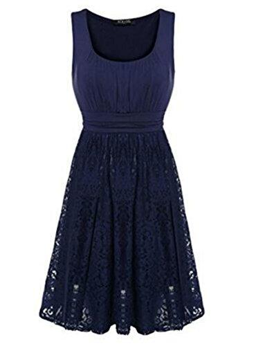 D-Pink - Vestido - trapecio - Sin mangas - para mujer azul oscuro
