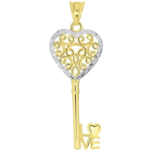- 14k Yellow Gold Filigree Two Tone Heart Key with