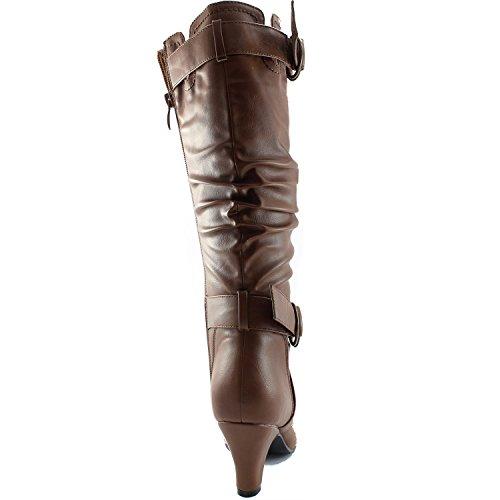 """Dailyshoes Damen Slouchy Mid Calf Riemchen Stiefel mit Knöchel und Top Straps - 2 """"Heel Fashion Boots Taupe Pu"""