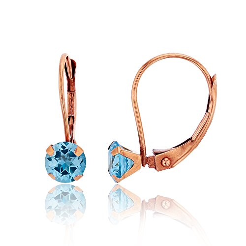 - 10K Rose Gold 6mm Round Sky Blue Topaz Martini Leverback Earring