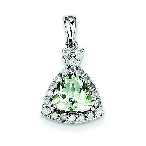 Argent Sterling diamant Quartz vert et pendentif-Triangle JewelryWeb