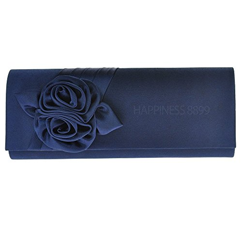 Wocharm Womens Ladies Girly Satin Rose Bouquet Pattern Wedding Party Prom Evening Clutch Bag Handbag Shoulder Bags Purse Navy blue