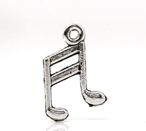 Housweety 100PCs Silver Tone Musical Note Charm Pendants 14x10mm(4/8