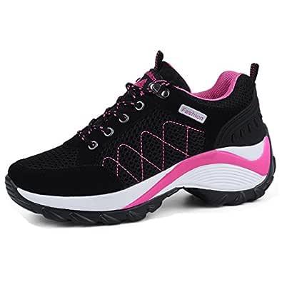 WEONEDREAM Breathable Mesh Sports Shoes Women Shoes Casual Lace up Shoes Black 35 AU 5