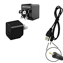 2in1 dual mini wall outlet charger with double USB power ports & sized pocket for travel 2.4 Amp 12W with USB charge cable designed for the Avatar Sirius S702-R1B-2