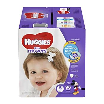HUGGIES Little Movers Diapers, Size 5, 96 Count (Packaging May Vary)