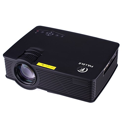 FULLELE Portable 120-inch 1080p HD HiFi Stereo LED Projector, Matte Finish Lower Radialized 100% Environmental Material, Black
