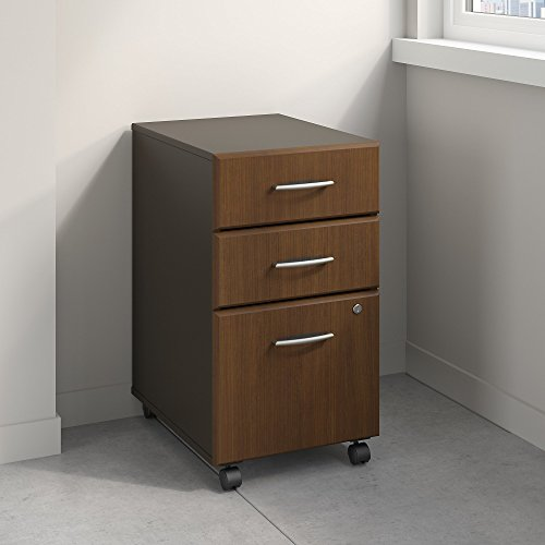 Series A 3 Drawer Mobile File Cabinet in Sienna Walnut and Bronze