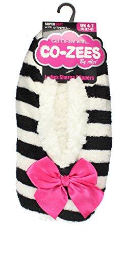 Uk Sherpa black 7 Striped Slippers zees Fleece Design 4 Ladies Co Ix0vSwqFUv