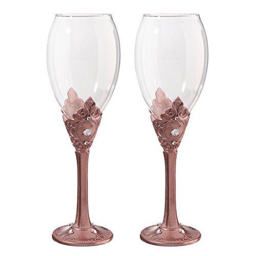 Lillian Rose G970 C Wine Glass Set, 9.25' x 3', Rose Gold
