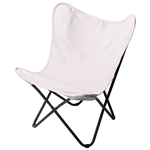 PatioPost Butterfly Camping Chair Ergonomic High Back Support 350lbs with Removable Cover Outdoor Heavy Duty,Tan
