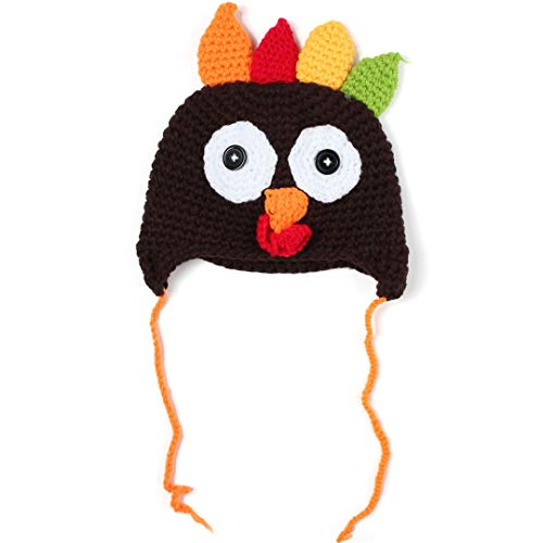 WP21 Little Knit Thanksgiving Turkey Hats Baby, Crochet Beanie for Toddlers Newborn Coffe L]()