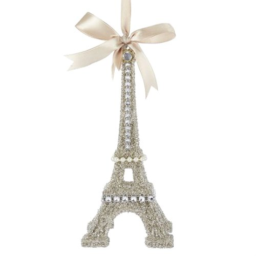 Kurt Adler VINTAGE GLAMOUR PLATINUM GLASS GLITTER EIFFEL TOWER ORNAMENT (Tower Christmas Ornament Tree Eiffel)