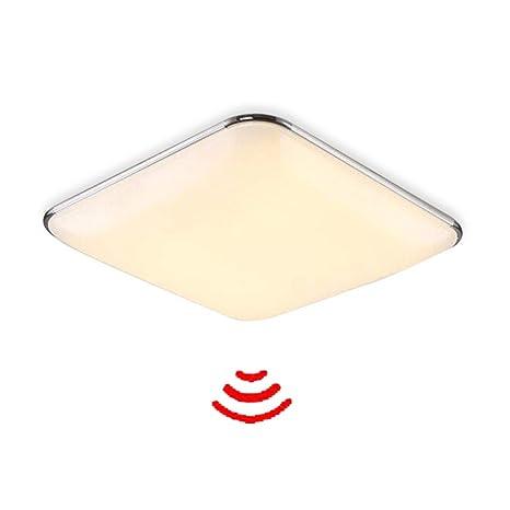 yesda lámpara de techo plafón Led Sensor Lámpara con detector de movimiento Radar, 12W Warmweiß