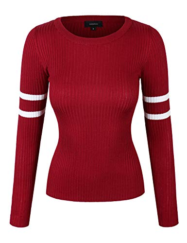 makeitmint Women's Round Neck Varsity Stripe Ribbed Long Sleeve Sweater Top - Stripe Varsity Sweater