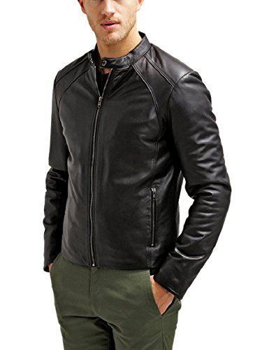 The Leather Factory Men's Maximus Black Genuine Lambskin Leather Biker Jacket L Black
