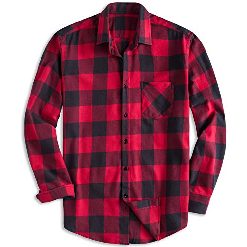 (PIZZ ANNU Men's 100% Cotton Long Sleeve Plaid Fleece Shirt Button Up Flannel Shirt(DTF05 M))