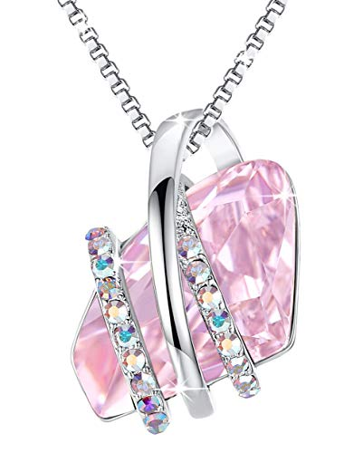 - Leafael Wish Stone Pendant Necklace Made with Swarovski Crystals (Light Rosaline Pink Silver Tone) Gifts for Women June October Birthstone Jewelry