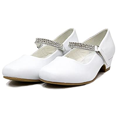 Ychen Kids Girls Low Heels Wedding Bridesmaid Shoes Dress Shoes with Rhinestones
