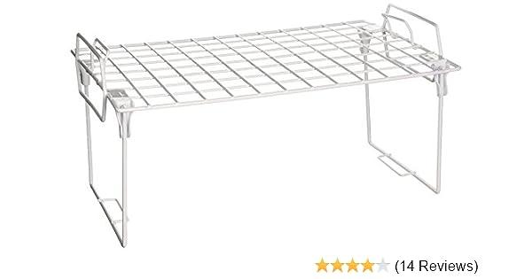 Honey-Can-Do KCH-01870 Stacking Kitchen Shelving Wire Rack White 18L x 7.25W x 7.25H