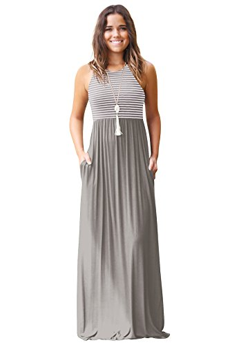 JYUAN Womens Summer Sleeveless Crew Neck Casual Striped Maxi Dress Tank Long Maxi Dress with Pockets (Small, Grey)