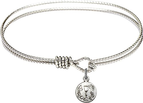 6 1/4 inch Oval Eye Hook Bangle Bracelet with a Communion Chalice Charm - ()