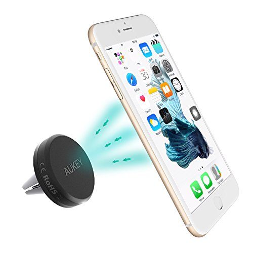 AUKEY HD-C5, Soporte Movil Coche Magnético Rejillas del Aire Soporte Teléfono Coche Universal,  para iPhone 7 / 6s / 6 / 5 , Samsung Note 8 / S8 , LG G3 y Dispositivo GPS, color gris