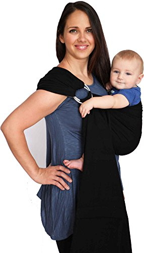 Maya Wrap Lightly Padded Ring Sling Baby Carrier - Black - Large (Maya Wrap Slings)