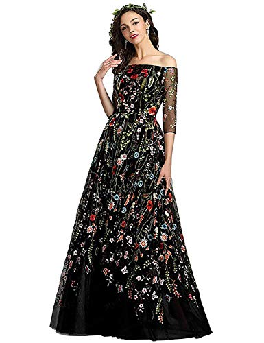 Honeydress Women's Floral-Embroidered Long Sleeve Maxi Dress Prom ()