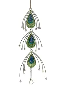 """11"""" Regal Peacock Teardrop Dangle Christmas Ornament with Jewel Accents"""