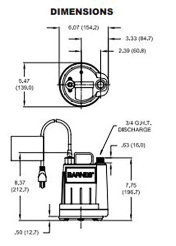 Barnes 113824 Model UT17 Submersible Sump and Utility Pump, 1/6 hp, 120V, 1 Phase, 3/4'' Vertical Discharge, 16 GPM, 23' Head, Manual, 15' Cord by Barnes (Image #2)