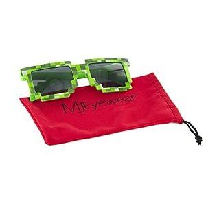 MJ Boutique's 8-Bit Pixel Retro Novelty Gamer Geek Sunglasses (GREEN, BLACK)