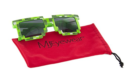MJ Boutique's 8-Bit Pixel Retro Novelty Gamer Geek Sunglasses (GREEN, - Boutique Sunglasses