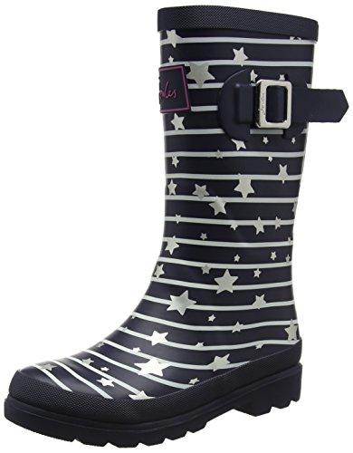 Image of Joules Girls' JNRGIRLSWLY Rain Boot, Navy Star Stripe, 9C Medium US Infant