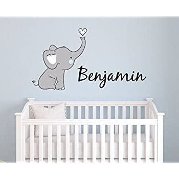 Amazoncom Custom Elephant Name Wall Decal For Boys Baby Boys - Wall decals in nursery