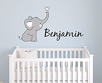 Boys Nursery Elephant Custom Personalized Name Wall Decal Large, Nursery  Elephant Wall Decals, Boys