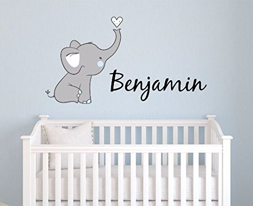 Boys Nursery Elephant Custom Personalized Name Wall Decal Small, Nursery Elephant Wall Decals, Boys Personalized Decals Elephants, Nursery Decals, Nursery Wall Decals, PLUS FREE HELLO DOOR DECAL
