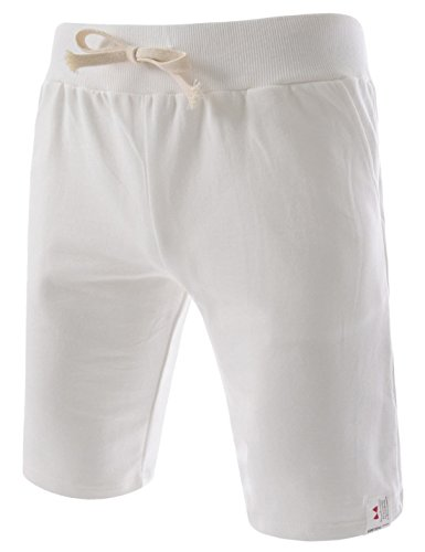TheLees (TTS01) Unisex Cotton Jersey Waist Elastic Jogger Training Beach Board Shorts White X-Large(US 31~33)